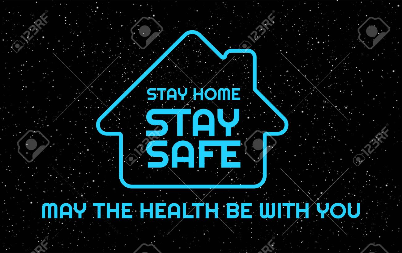Stay Home, Stay Safe, USA - dark blue background with the United States flag and text Stay Home - to support lockdown during outbreak in the US - 147504652