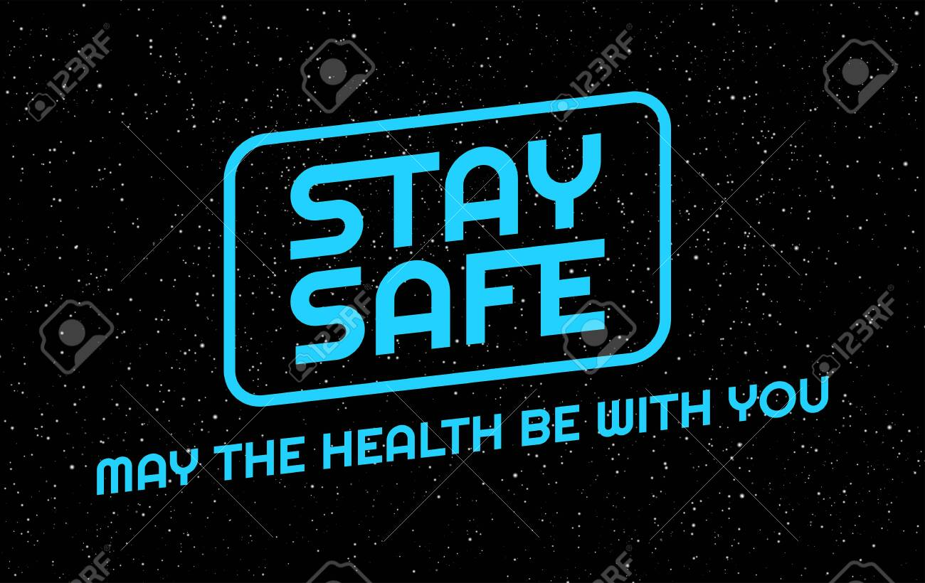 Social distancing creative background. Stay safe, stay home positive typography banner in an epic space style. illustration for self quarantine during outbreak in the world - 147504726