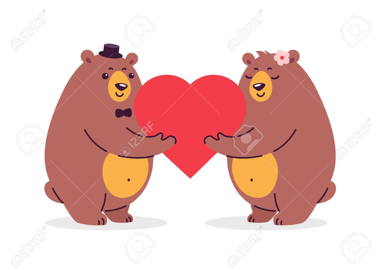 Cartoon illustration of two happy bears in love holding a red heart. Illustration is great for weddings, anniversary celebration, special couple goals event, greeting card design - 147504728