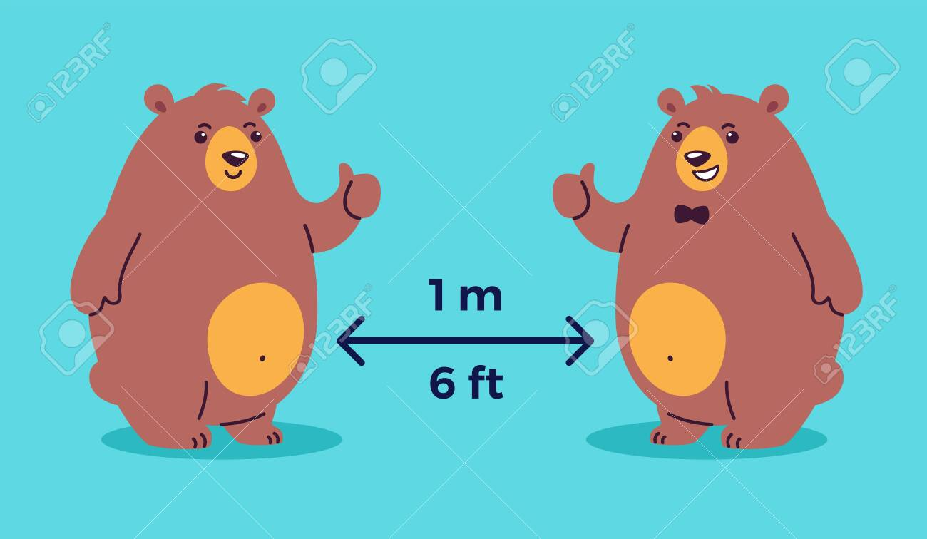 Social distancing illustration depicts keep 1 meter distance, 6 feet distance - cool bears show thumbs up - cartoon positive illustration to make you smile - 147504731