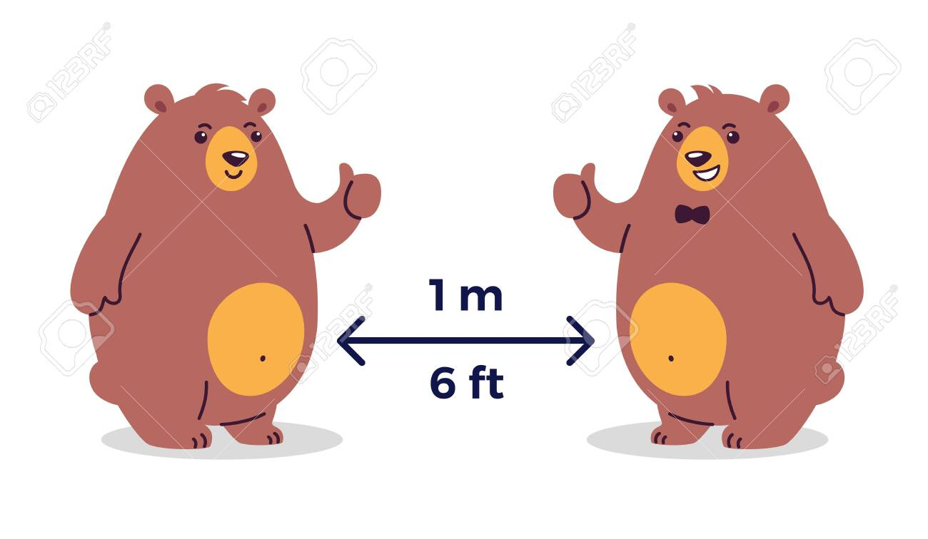 Social distancing prevention. Keep the safe distance 1-2 meter / 6 feet in public places - cartoon illustrations with two happy smiling bears - children illustration - 147504738