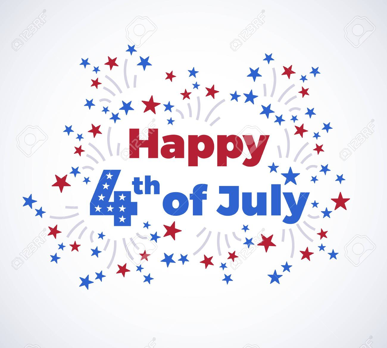 Fourth of July typography background with fireworks in modern flat style - American Independence Day illustration - 4th of July typographic design - 147504756