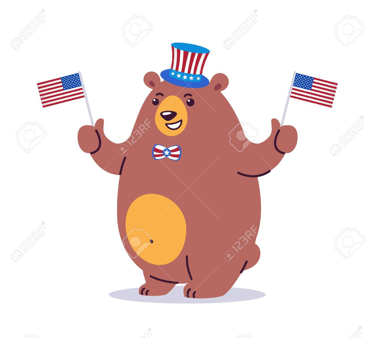 Cool cartoon vector illustration of a California state animal grizzly bear. The bear wearing patriotic cylinder hat and waving US flags. Holiday stars, stripes. Great graphic for California CA state - 147395591
