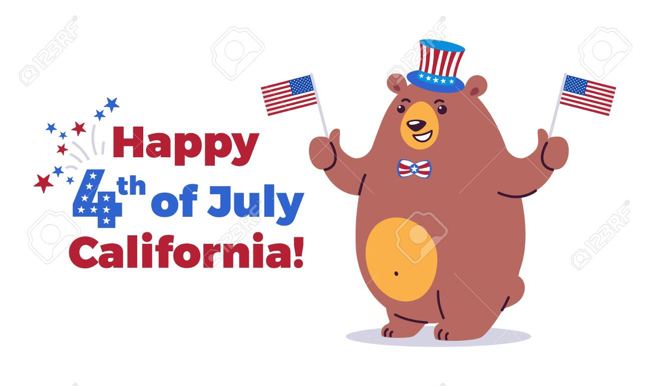 Happy Fourth of July, California background - California state animal grizzly bear in cartoon style ready for holiday - American Independence Day 4th of July vector illustration and typography - 147394905