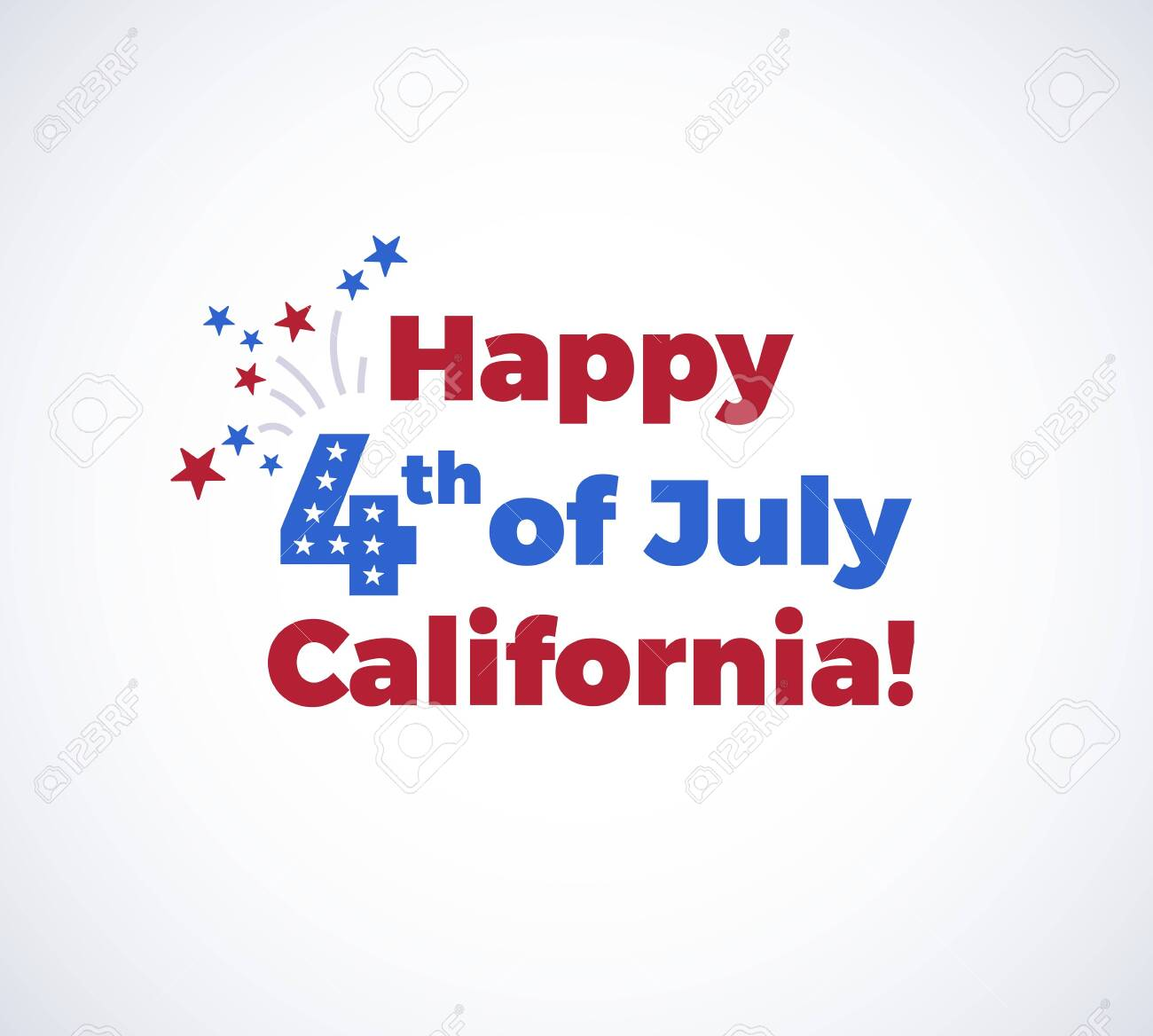 Happy 4th of July California background with the US Independence Day congratulations, fireworks, and flying stars. illustration isolated on white background - 147504766