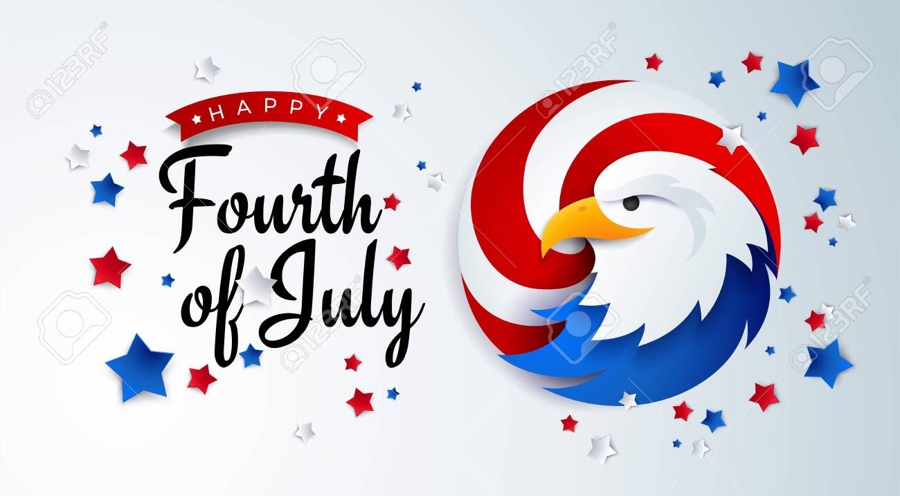 Fourth of July background - American Independence Day vector illustration with the USA bald eagle - 4th of July typographic design - 148228299