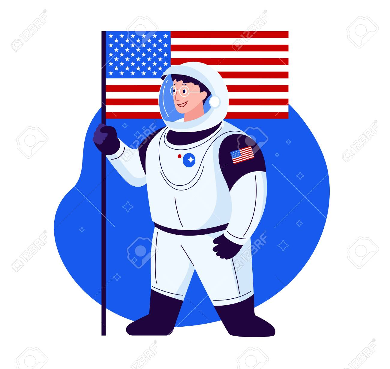 Happy spaceman character cartoon - flat style illustration - United States modern astronaut in glasses, smiling - flat style - 149694518