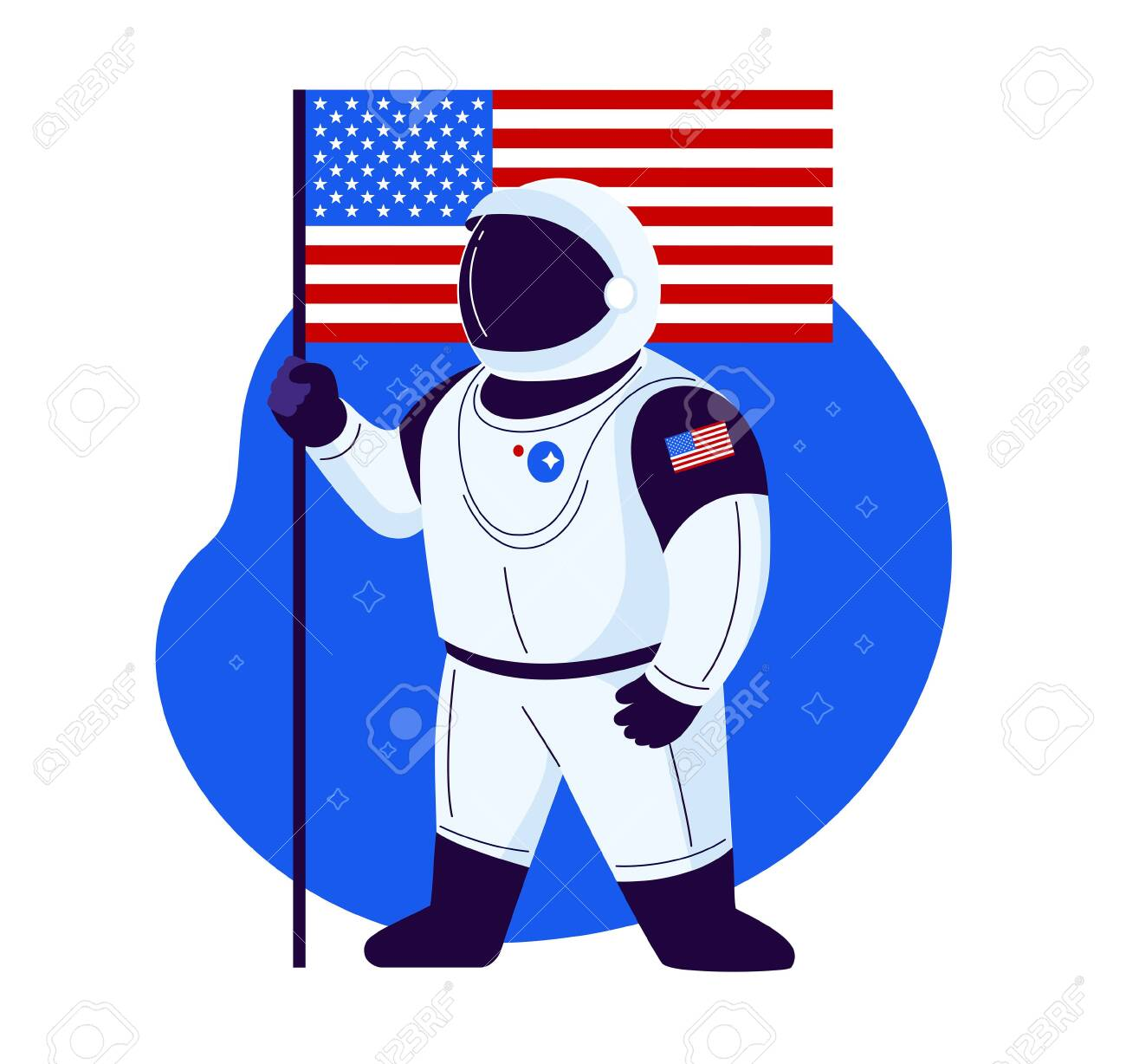 American astronaut stands with American flag in a new space suit ready to launch and proud of the USA space exploration - illustration in a flat trendy style isolated on white background - 149694532
