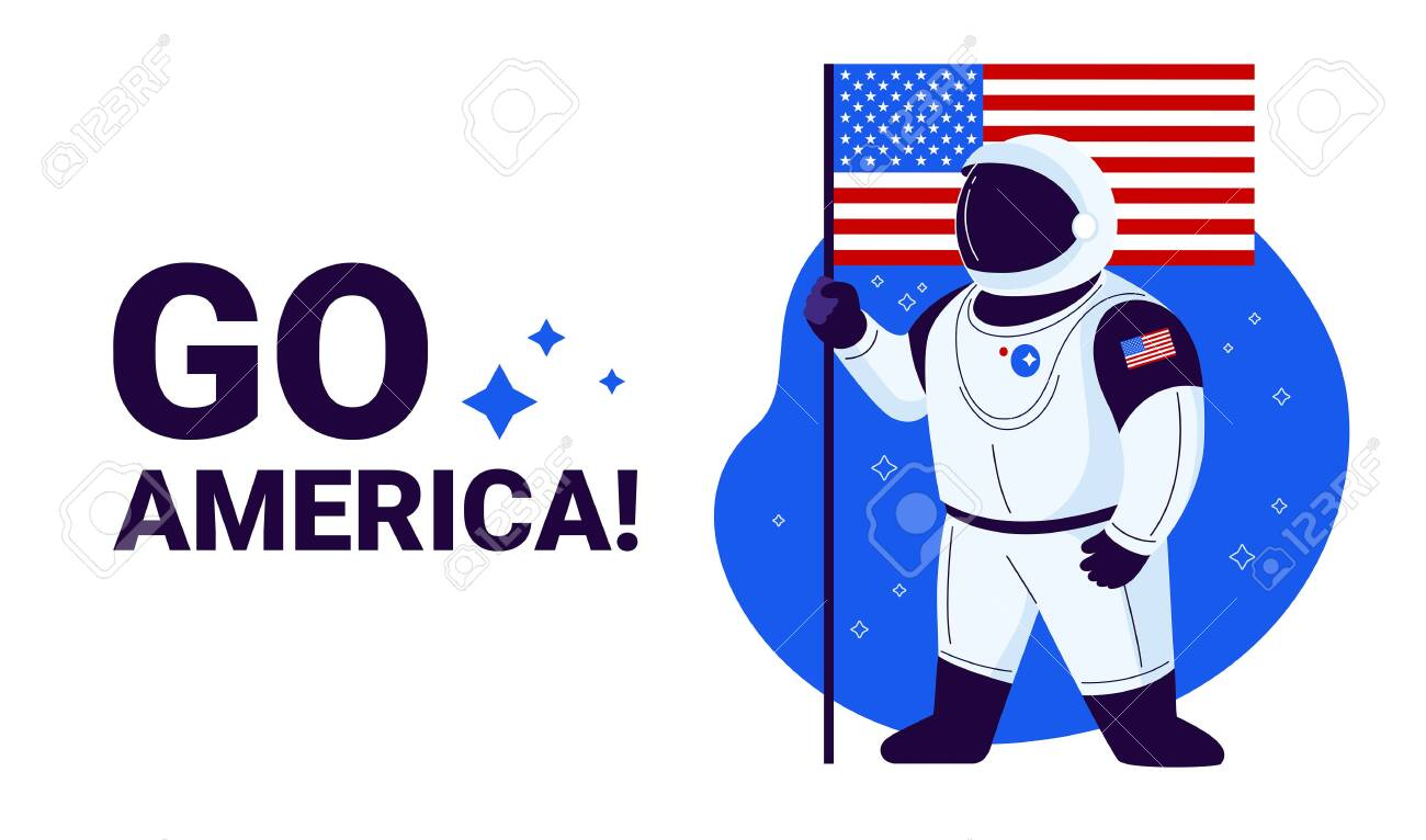 USA astronaut ready to launch to space, United States flag and text Go America - illustration banner to celebrate USA space success - 149694533