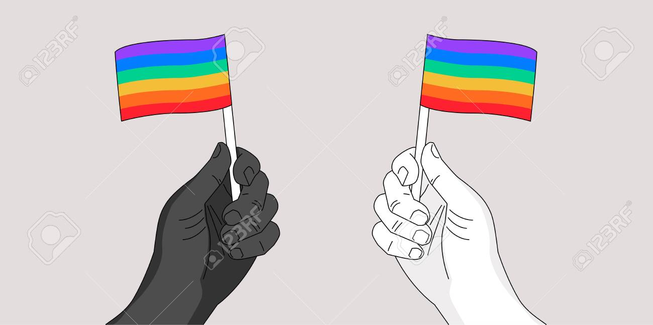 Two hands waiving rainbow flags - pride symbol - hand drawn illustration for Pride month event - metaphor of people's civil equal rights - 149694633