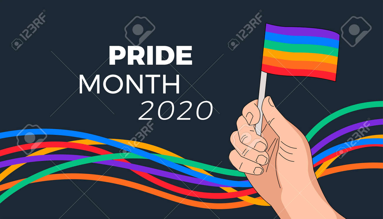 Pride month parade background - rainbow flag in hand and abstract colorful rainbow stripes waving on black background. Pride Month 2020 typography - illustration for pride month celebration - 149694682