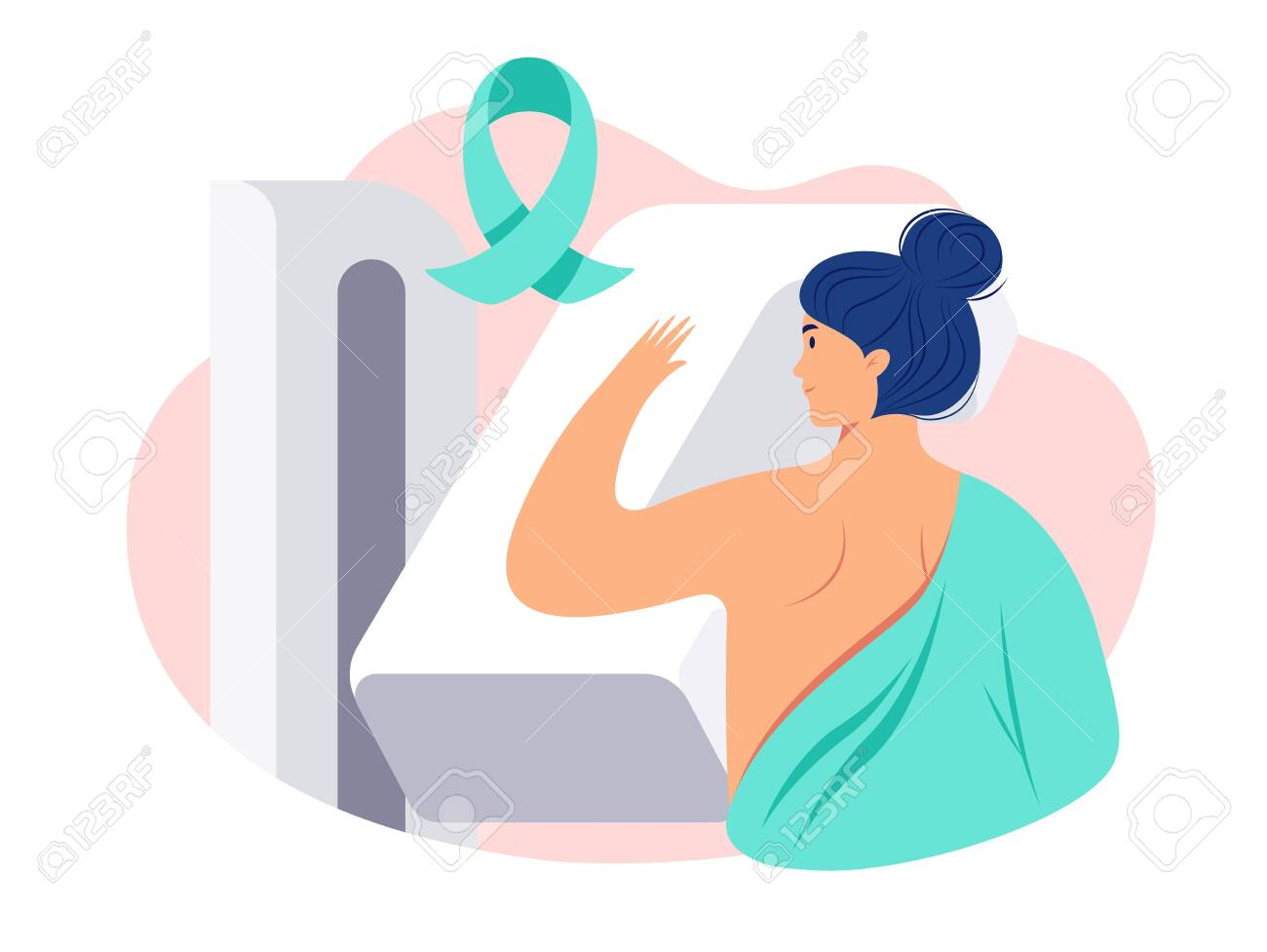 Breast cancer awareness vector illustration. Woman patient getting a mammogram. Breast diagnosis, medical diagnostic equipment, cancer awareness ribbon - 153308636