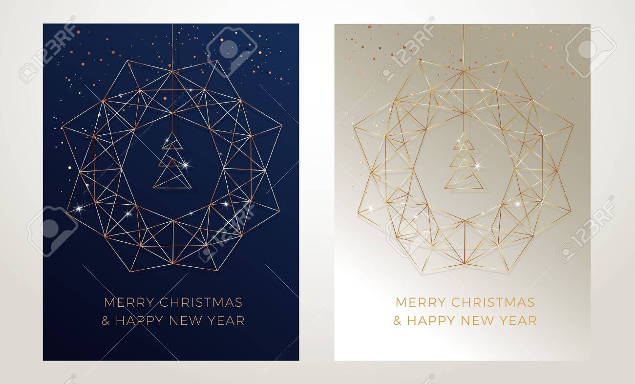 Christmas greeting cards design with stylized christmas wreath, christmas tree and snowflakes decoration. Elegant vector gold line art illustration on golden and dark blue abstract backgrounds - 153451895