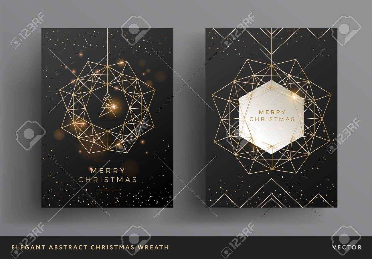 Christmas card gold and black background design. Stylized christmas wreath and christmas tree modern design. Elegant line art background template for Christmas cards, flyers, invitations - 153958396