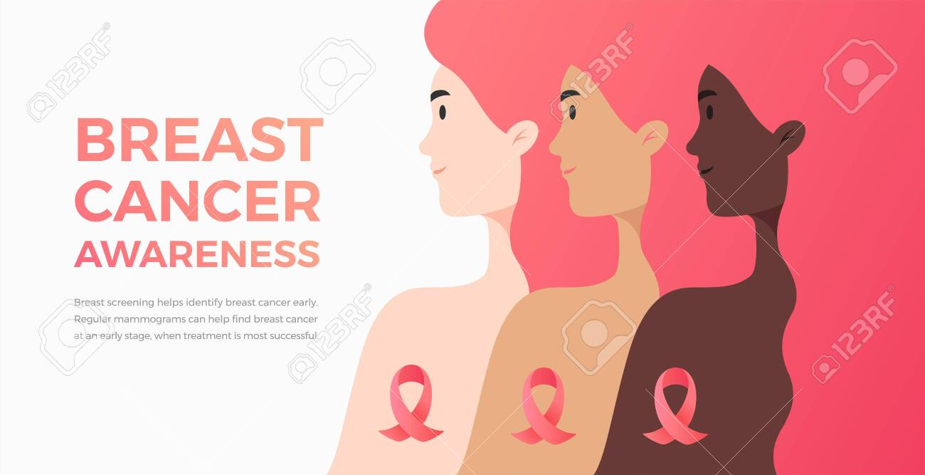 Background for Breast Cancer Awareness Month with text and women of different nationalities and cultures. Vector illustration great for banner, marketing email cover, magazine, brochure - 155499509