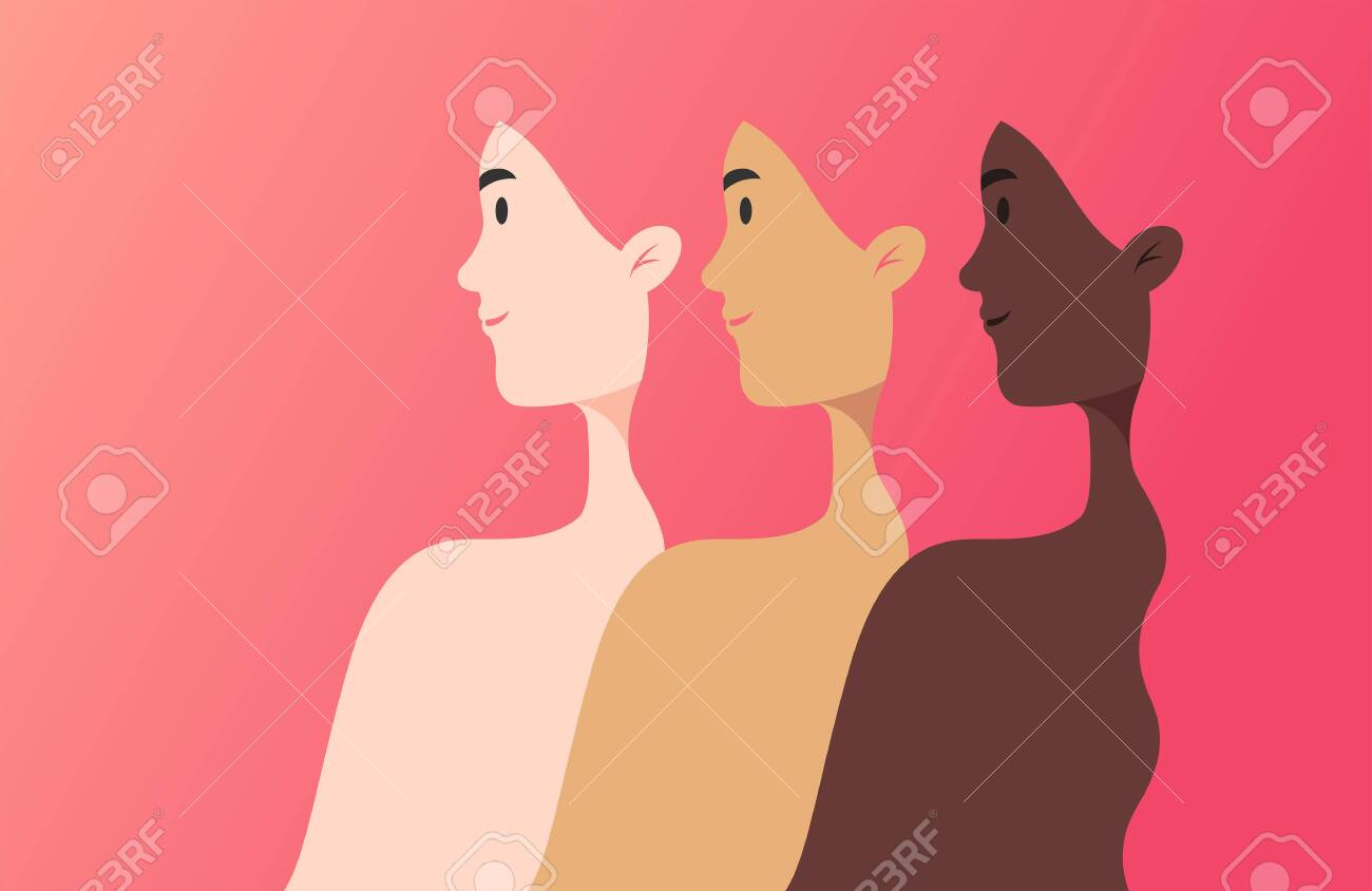 Women of different nationalities, cultures, and skin color strong together - unity concept - vector illustration banner in flat style, pink color beautiful gradient background - 154012061