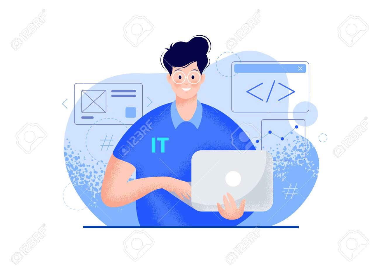IT guy with a laptop vector modern illustration - blue color. Smiling young man portrait in glasses, a polo t-shirt, holding a computer in hands, coding icons. Tech person character flat illustration - 154657884