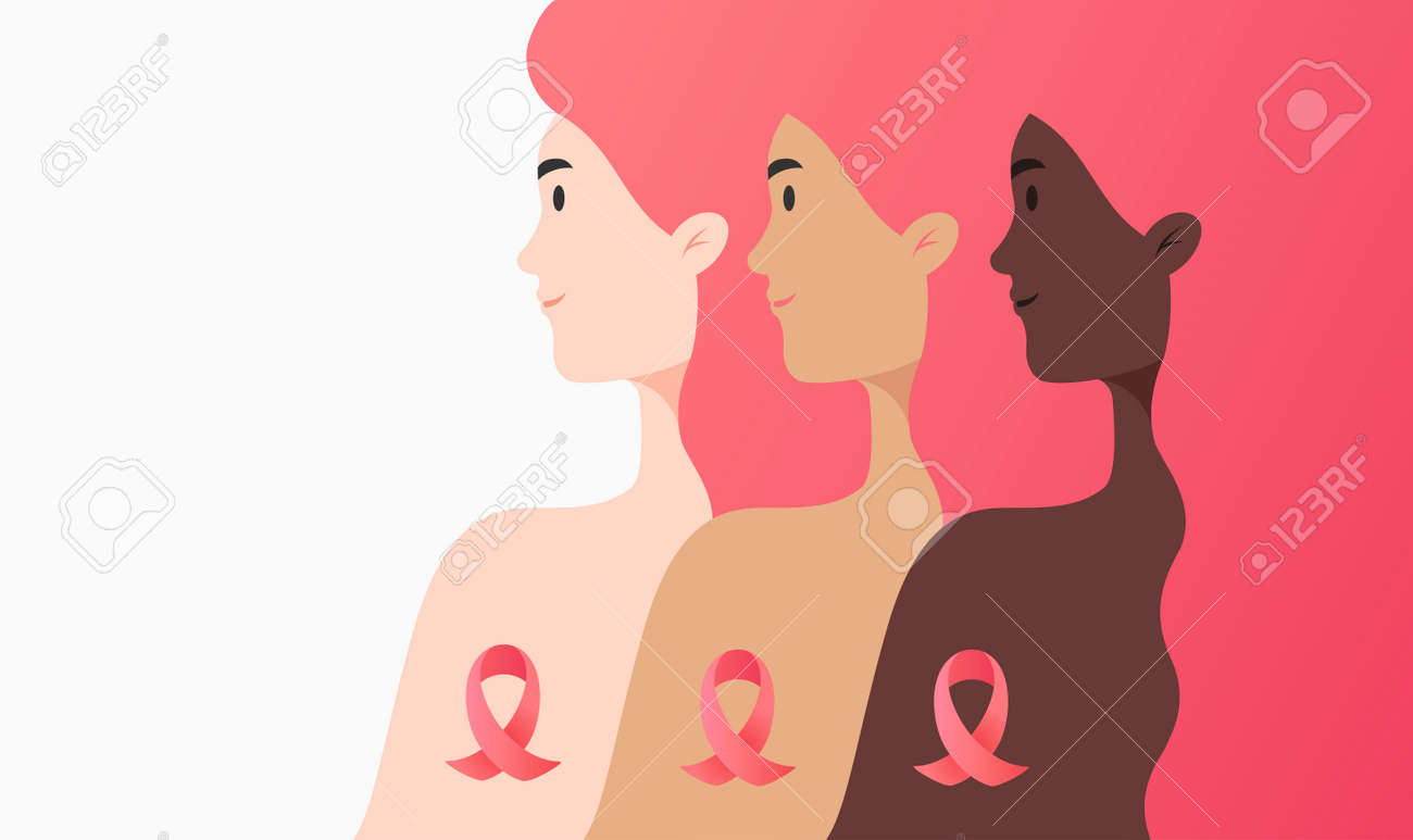 Flat illustration - women of different cultures together against cancer concept. Portrait of three different women and cancer ribbons isolated on white background - 155499510