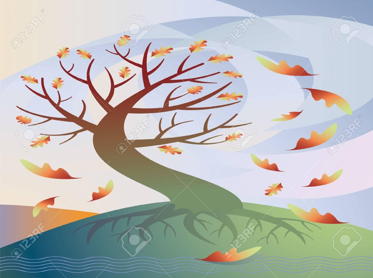 Vector Illustration Einer Gewundenen Baum Verliert Seine Blatter Im