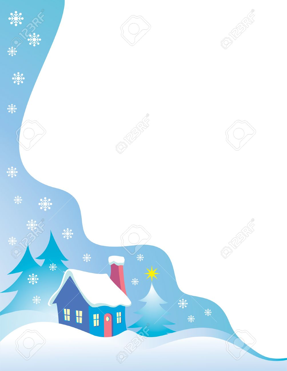 Night Time Snow Scene Vector Christmas Border Royalty Free Cliparts ...