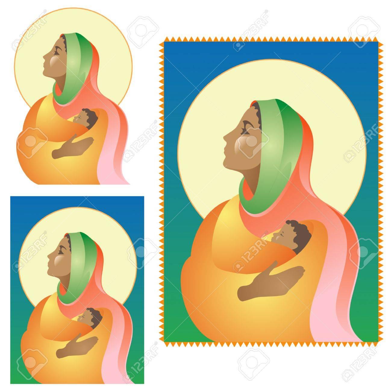 Christmas Nativity Scene-dark skin Stock Vector - 3870574