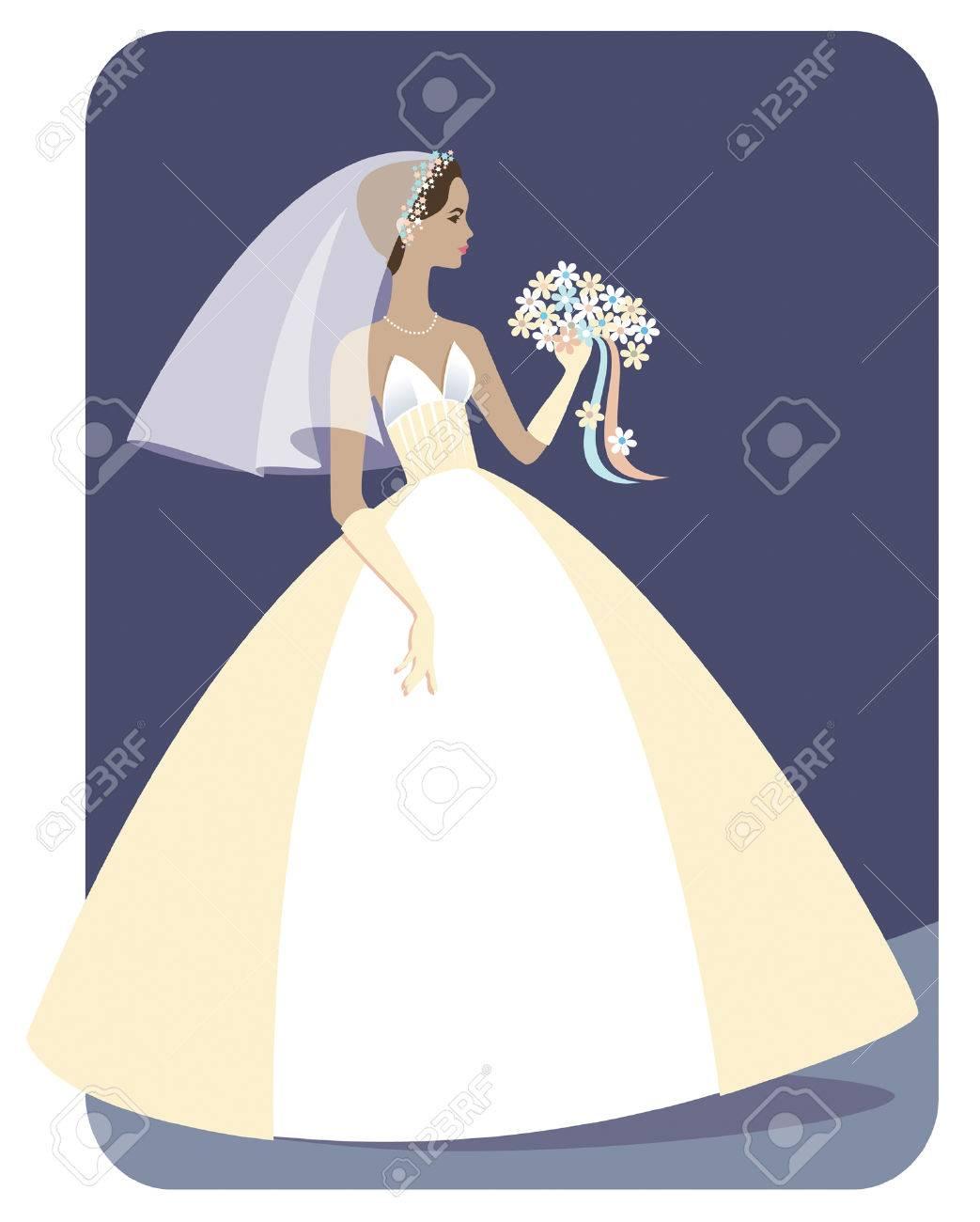 花の花束を保持しているストラッ プレスのウェディング ドレスでかわいい、細い、民族の花嫁のイラスト。多くのコピー スペース、背景を簡単に拡張できます。