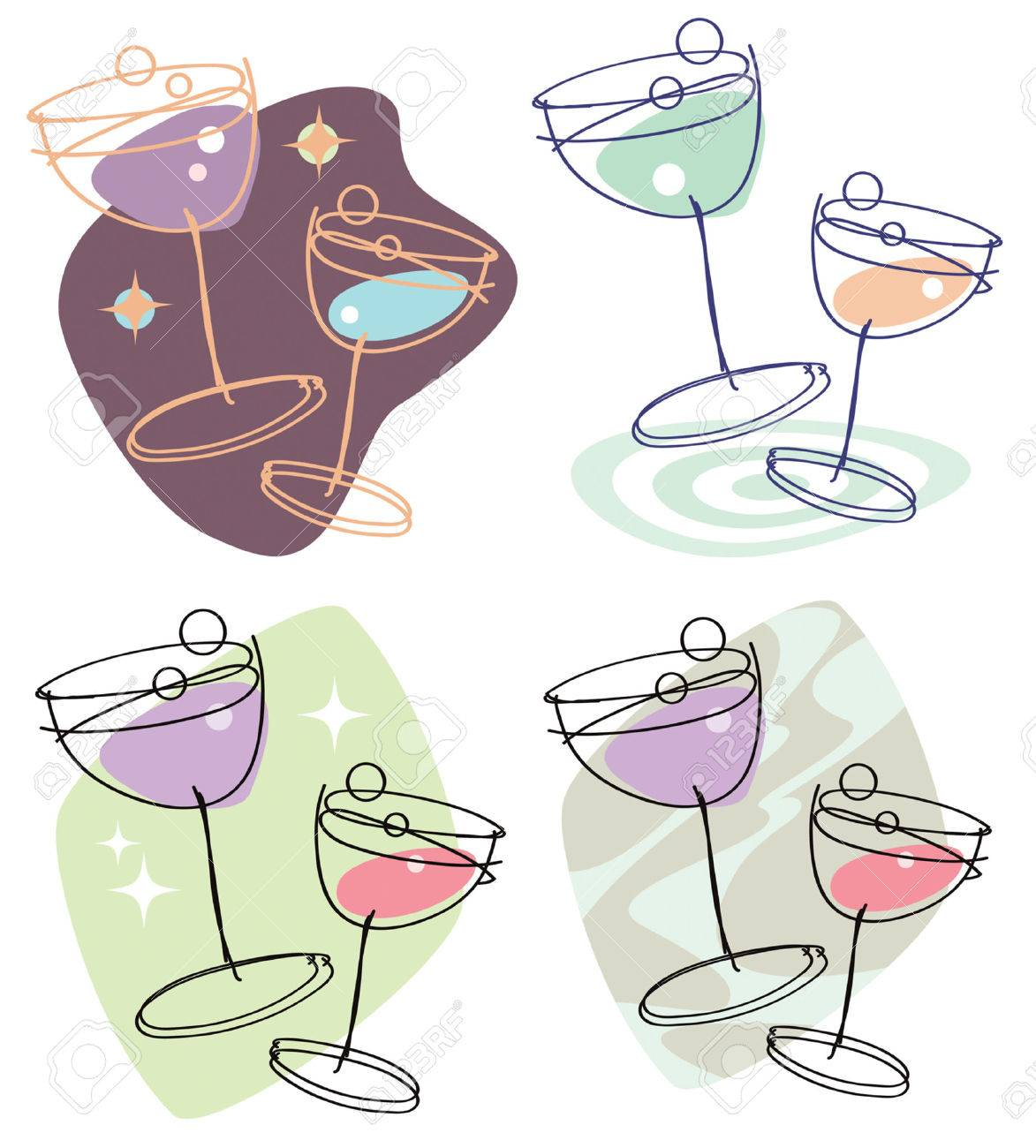 Set of 4 stylish line-drawing illustrations showing two wine glasses with differing colors and backgrounds. Easily editable. - 4400194