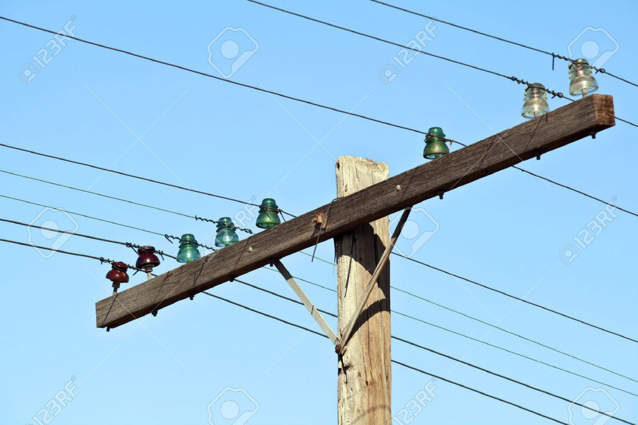 Old Wooden Telephone Poles With Glass Insulators Stock Photo ...