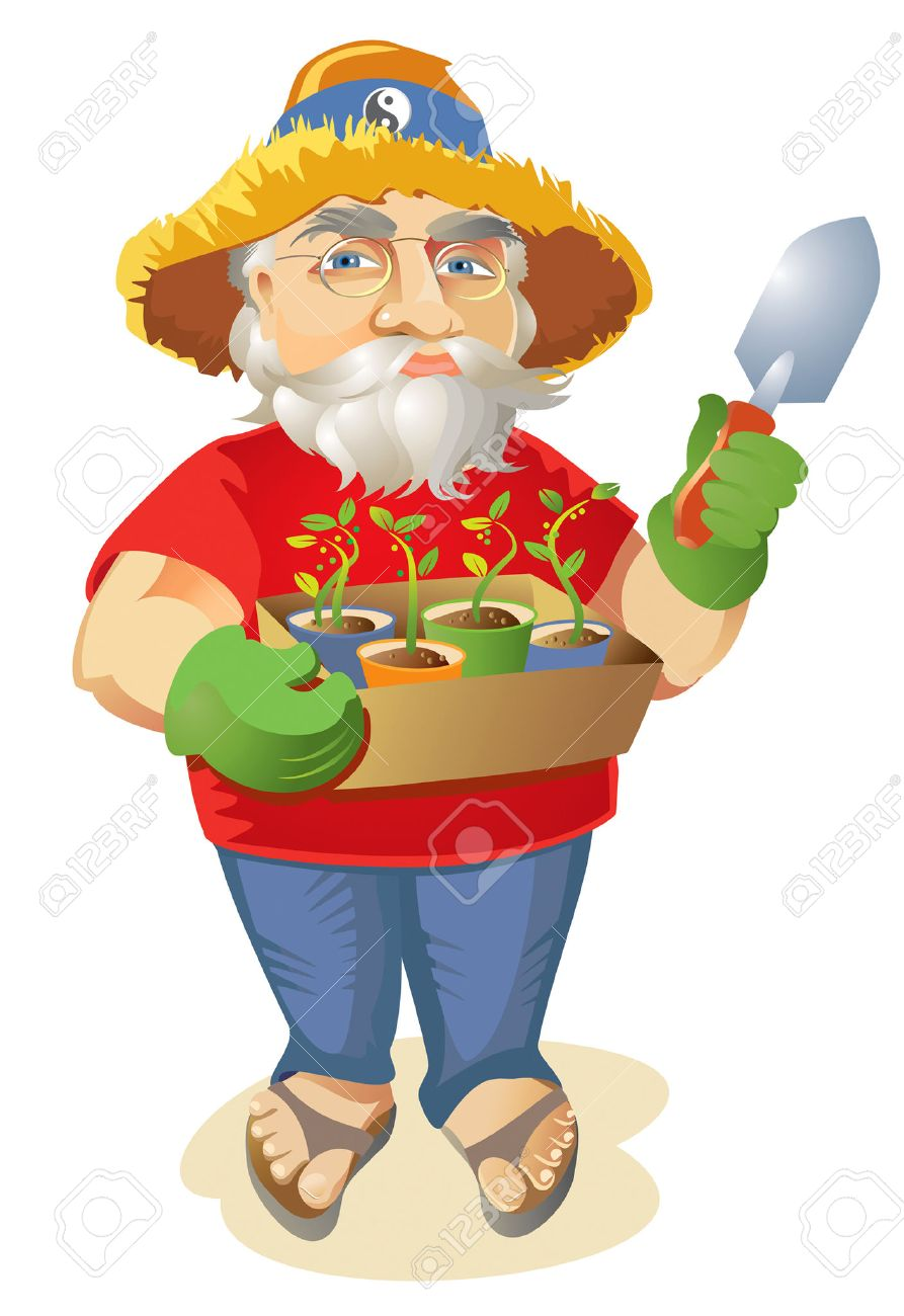 Happy old hippie gardener holding a box of seedlings in paper cups 02676739ea1
