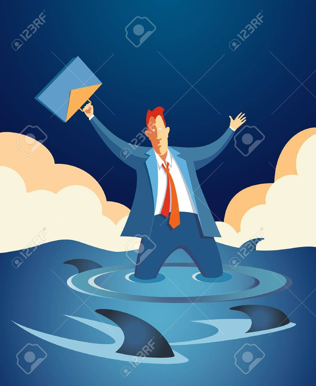worried businessman holding his briefcase in the air, knee-deep in rising water and surrounded by hungry sharks Stock Vector - 17306724