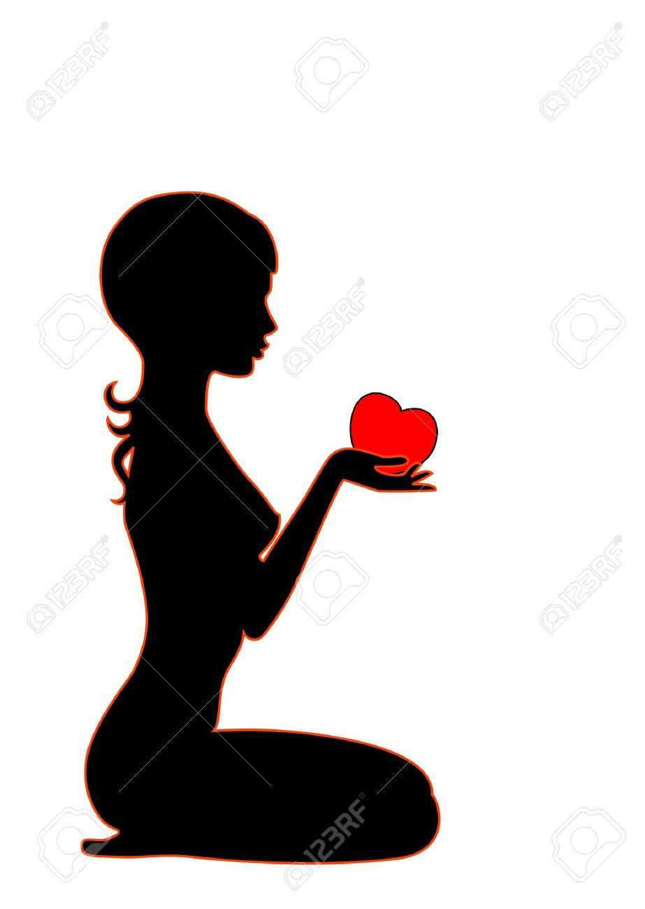 Silhouette Of The Beautiful Girl With Heart In Hands Stock Photo ...
