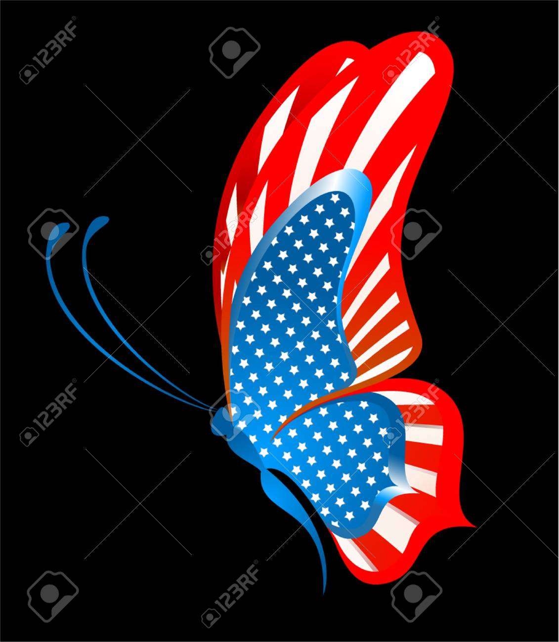 e0d147ab9be The beautiful abstract butterfly in the form of a flag of the USA Stock  Photo -