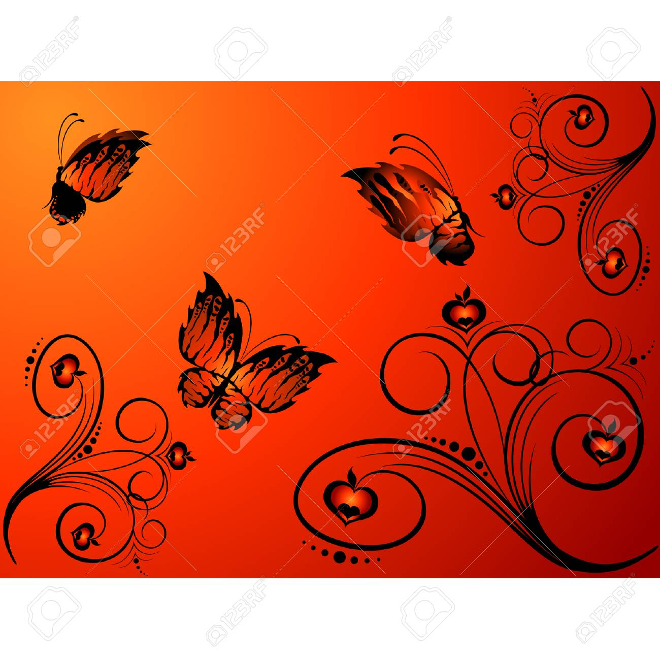 Abstract floral background with butterflies for design Stock Vector - 5578030