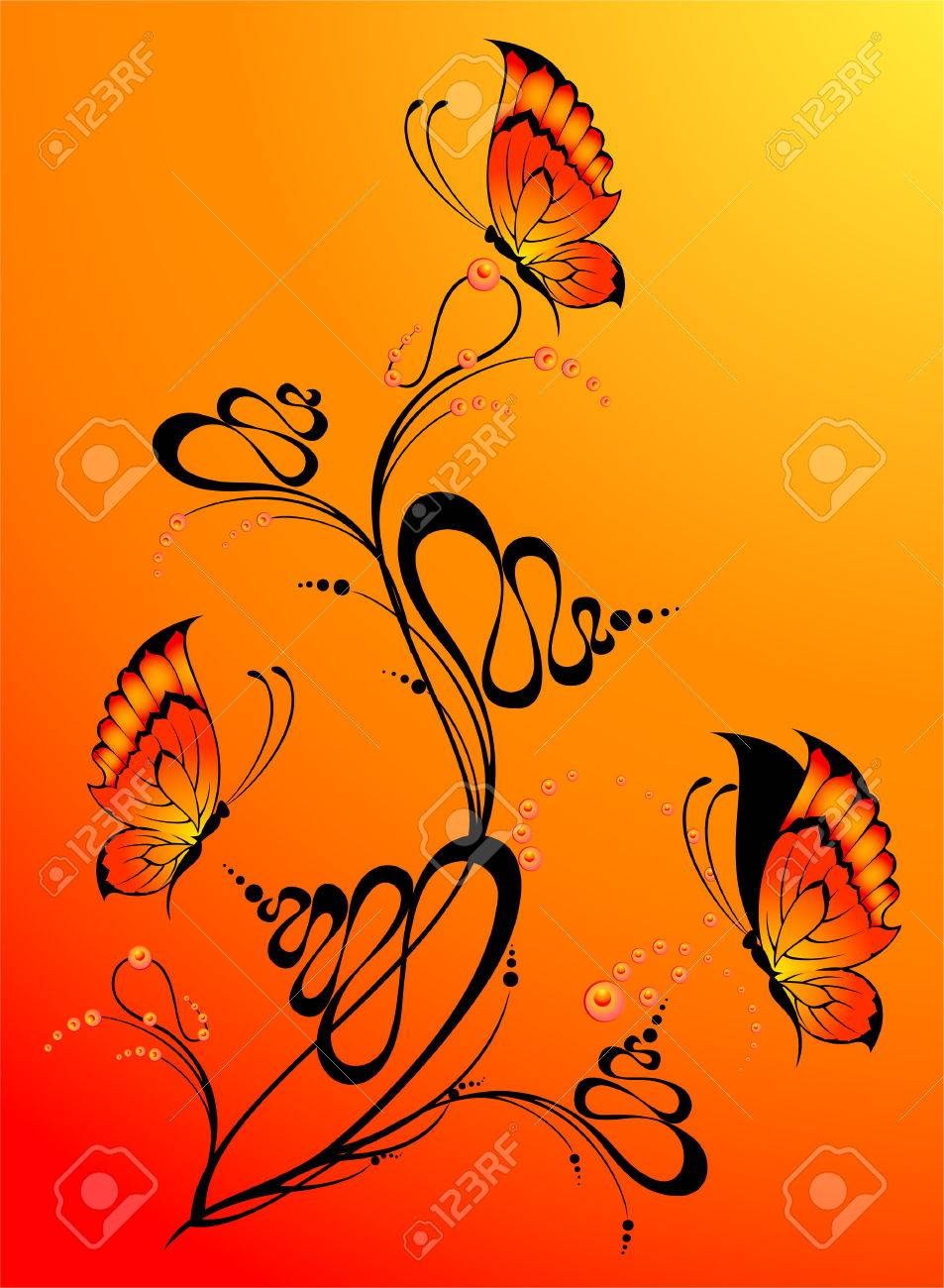 Abstract floral background with butterflies for design Stock Vector - 5578127