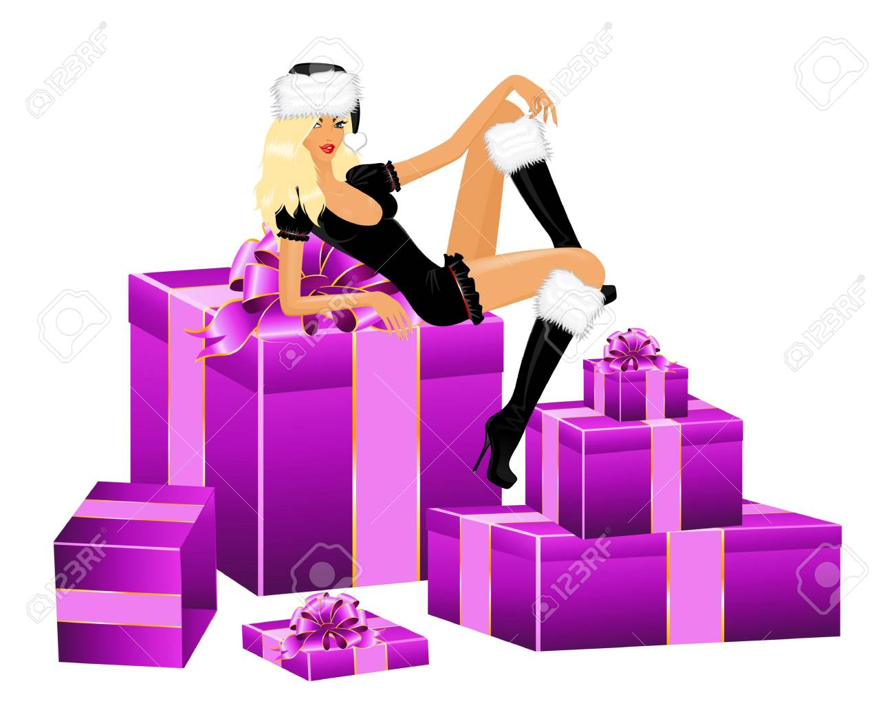 beautiful snow Maidens and gifts with a bow on a white background for Christmastides Stock Photo - 5898098