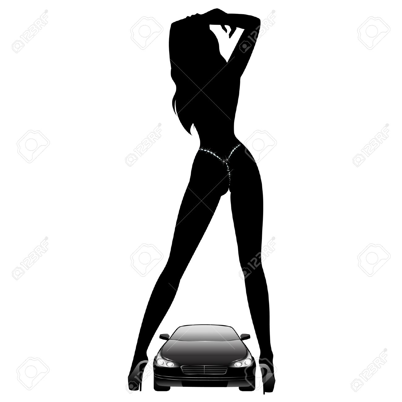 Silhouette of beautiful glamour girl sitting by the car Stock Vector - 5910114