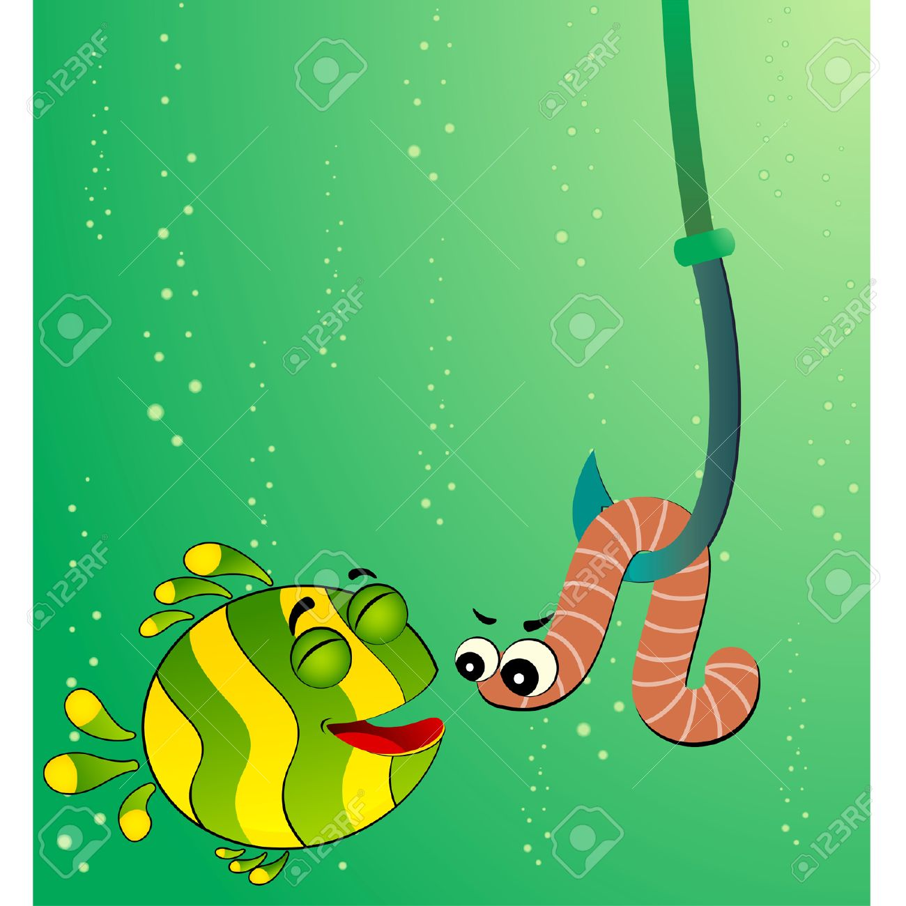 little cartoon funny fish eats a worm Stock Vector - 6602117