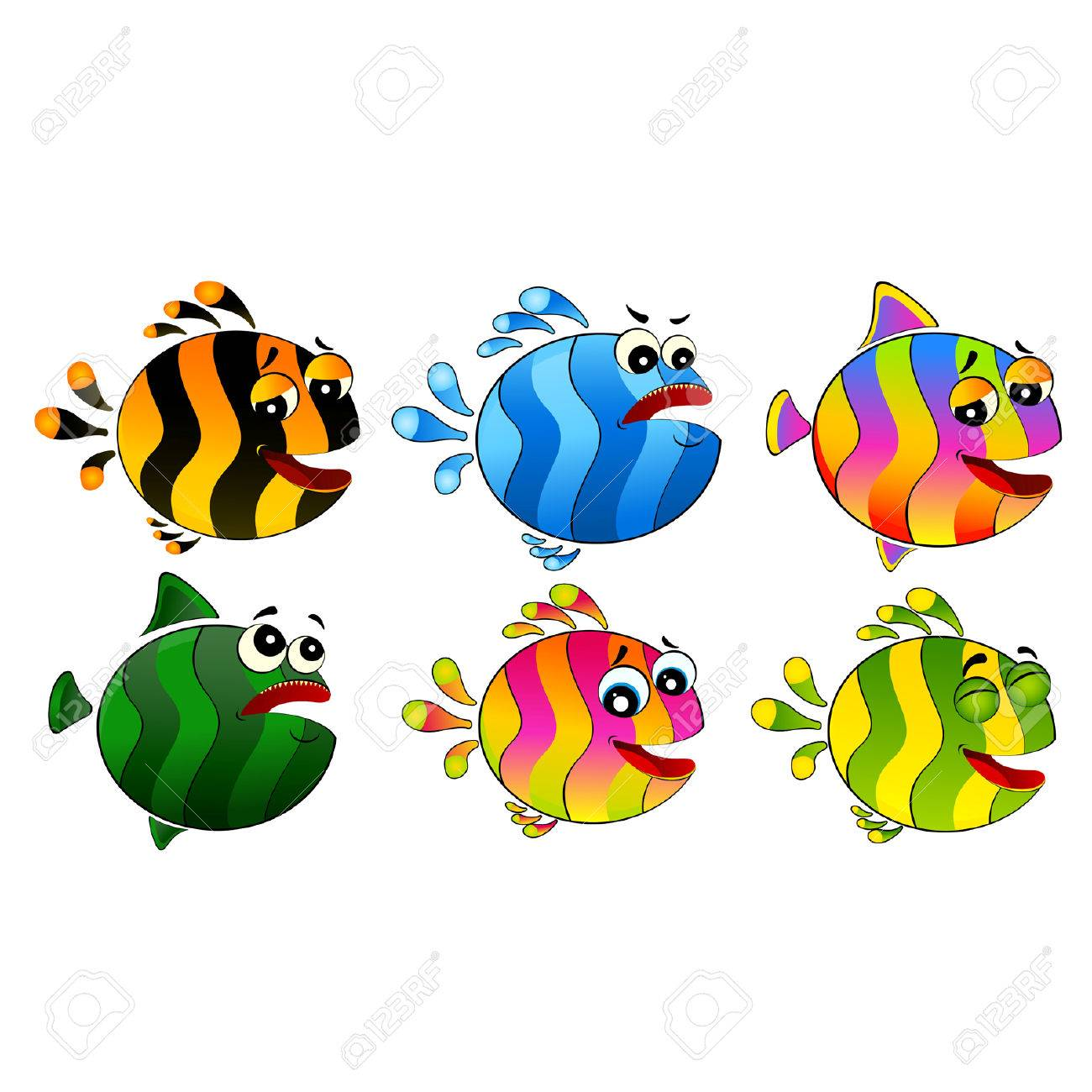 Set of little colorful tropical fish Stock Vector - 7145291