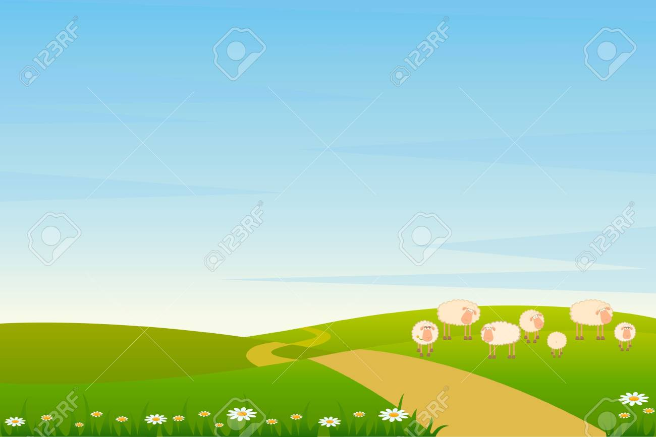 background with cartoon sheep Stock Photo - 7414741