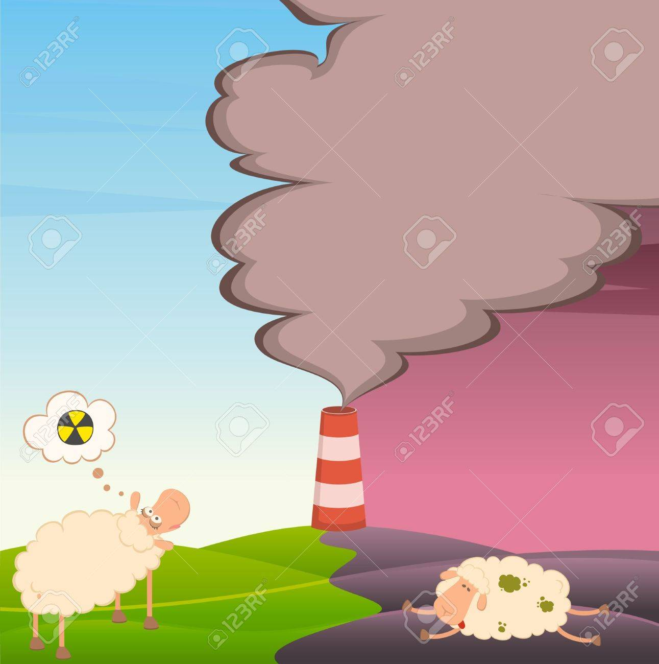 healthy sheep looks at a dead sheep Stock Photo - 7466793