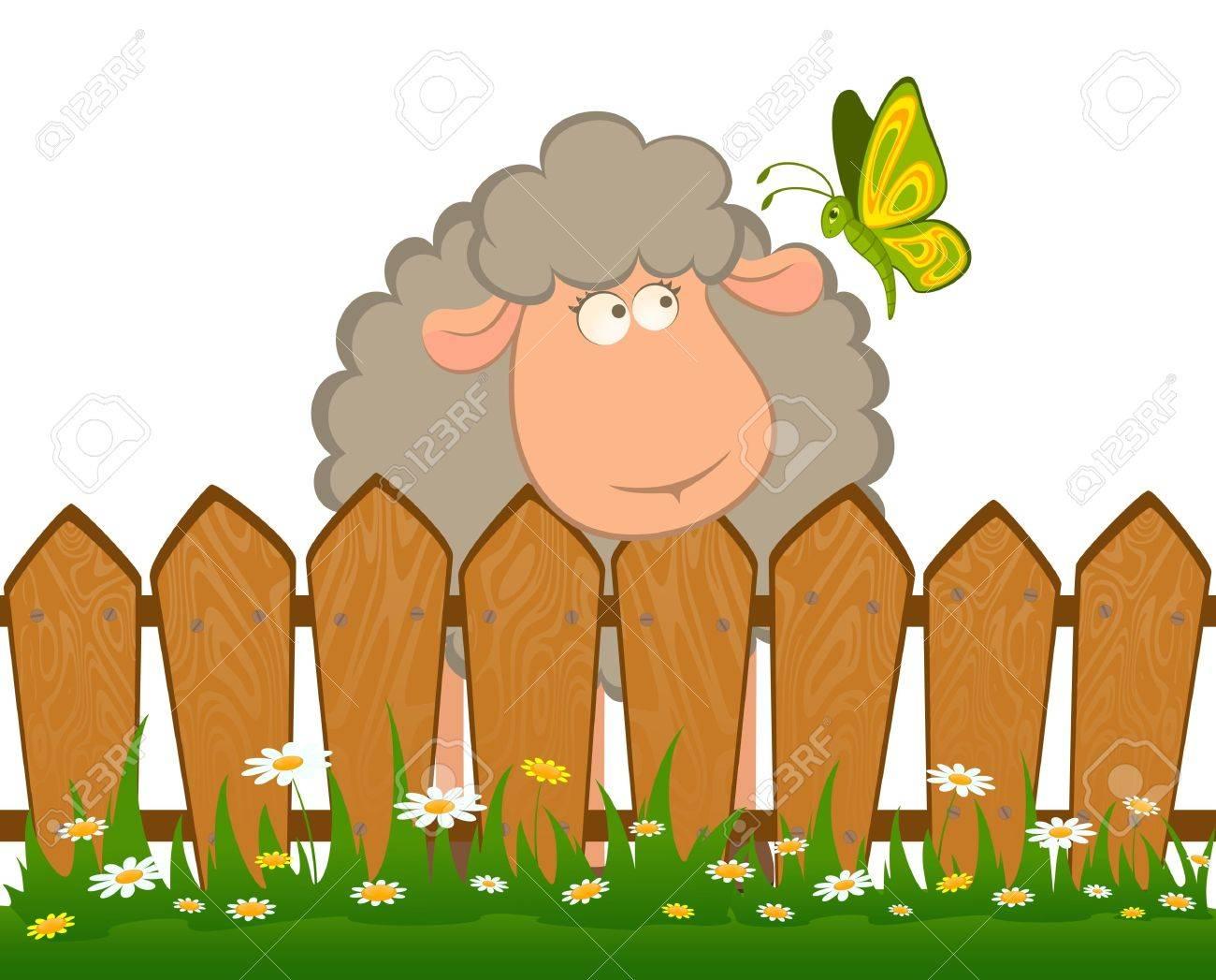 Cartoon Lachelnd Schafe Mit Schmetterling Nach Einem Zaun