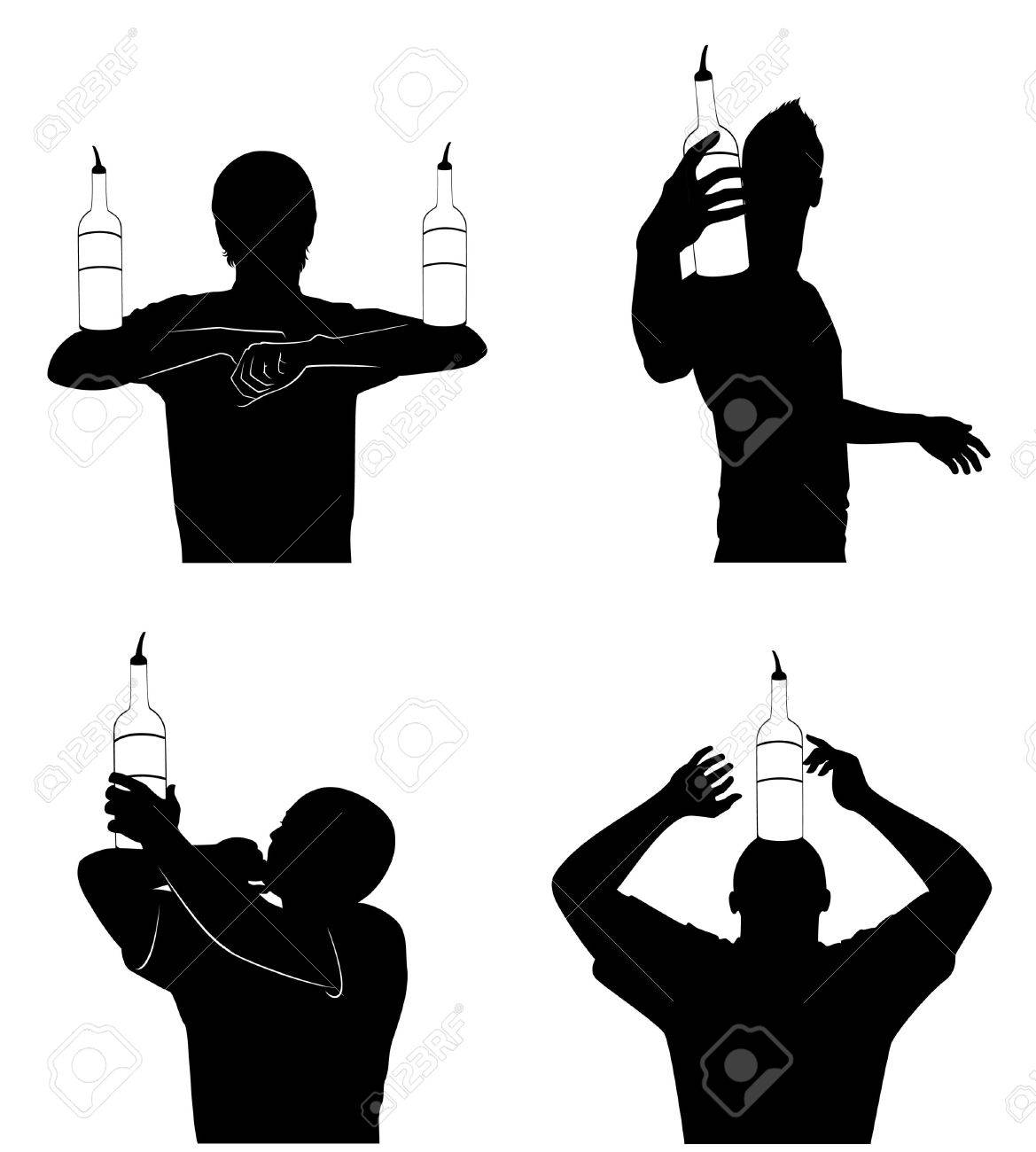 silhouette of barman showing tricks with a bottle Stock Photo - 7685944