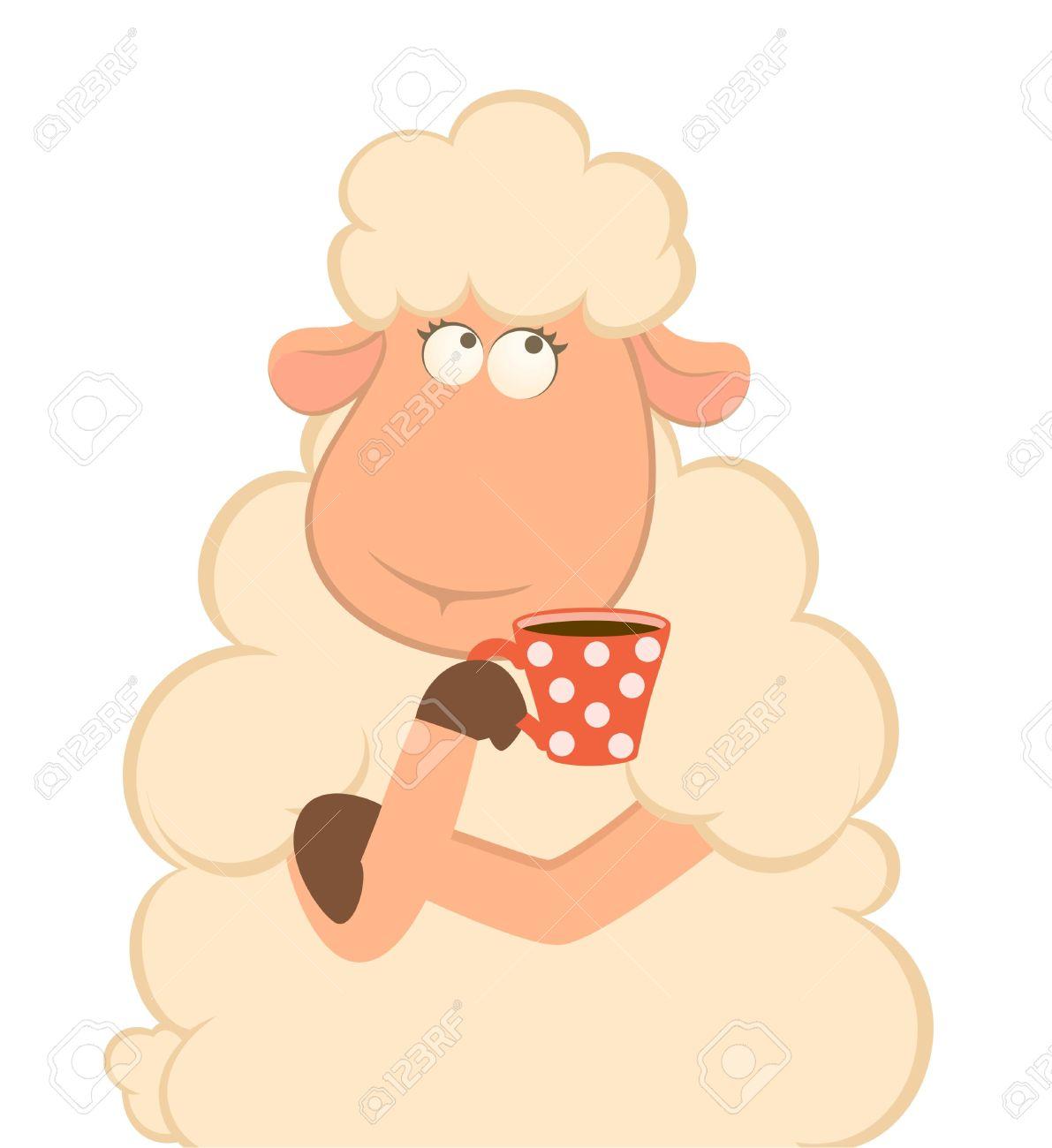cartoon sheep has coffee Stock Photo - 7808683