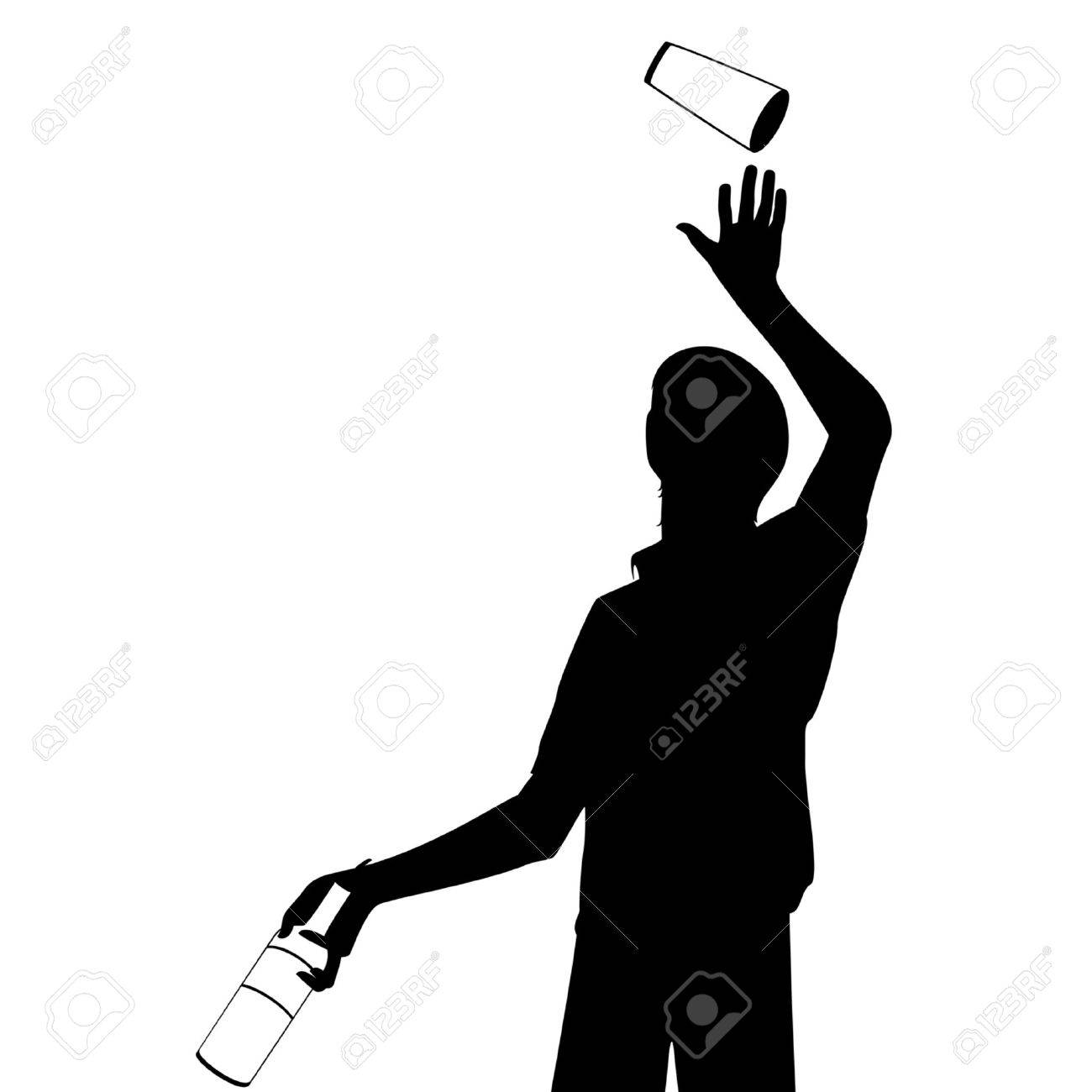 silhouette of barman showing tricks with a bottle Stock Vector - 7977051