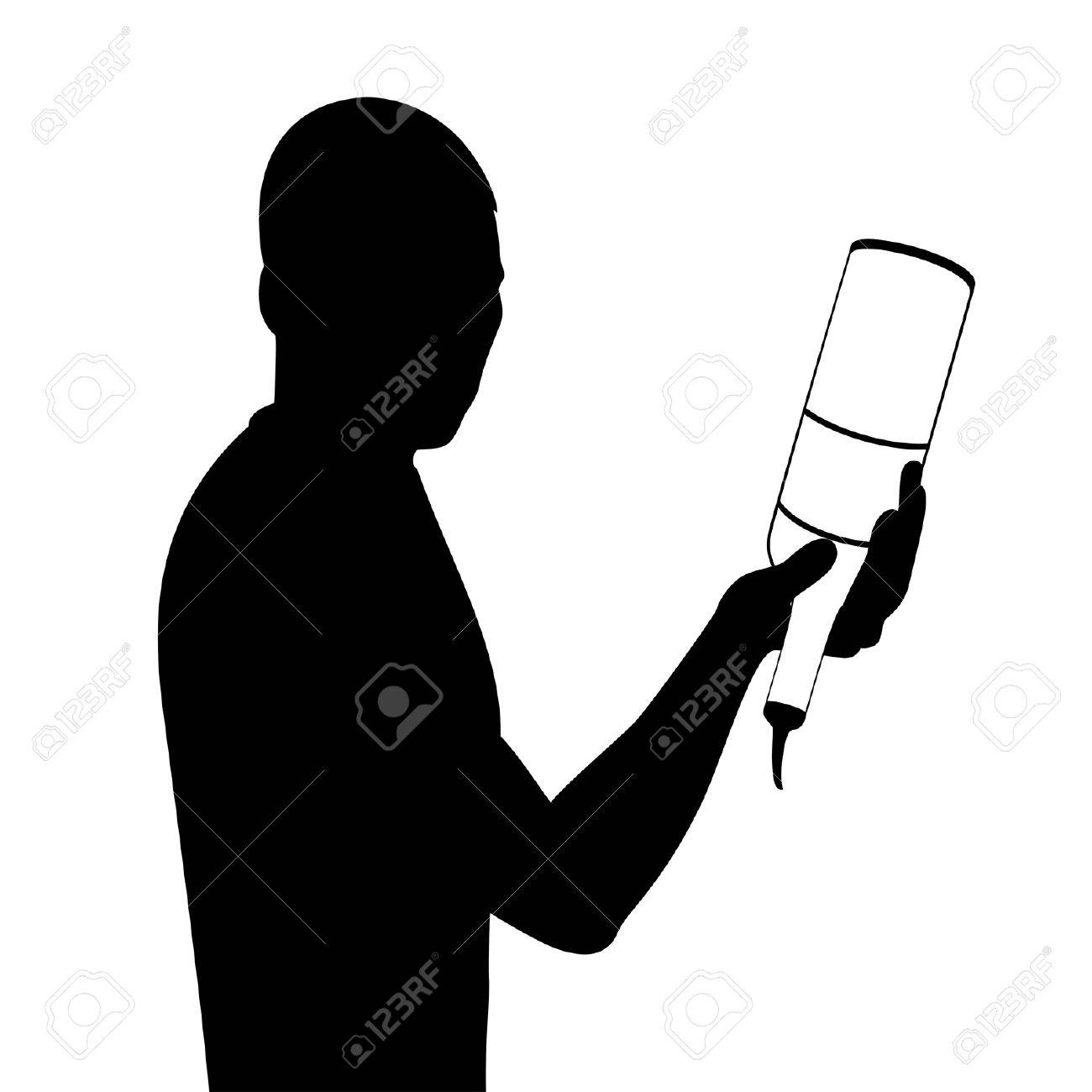 silhouette of barman showing tricks with a bottle Stock Vector - 7977006