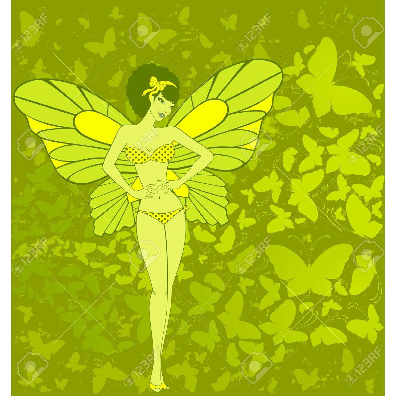 pretty girl with butterfly wings Stock Vector - 7977091