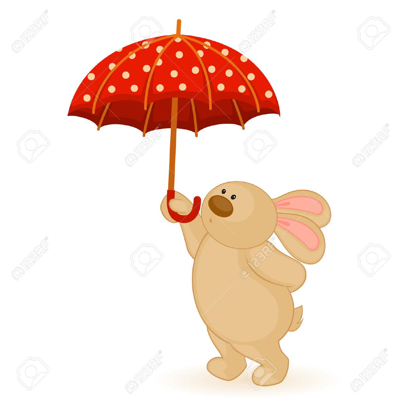 cartoon little toy bunny with umbrella Stock Vector - 8518913
