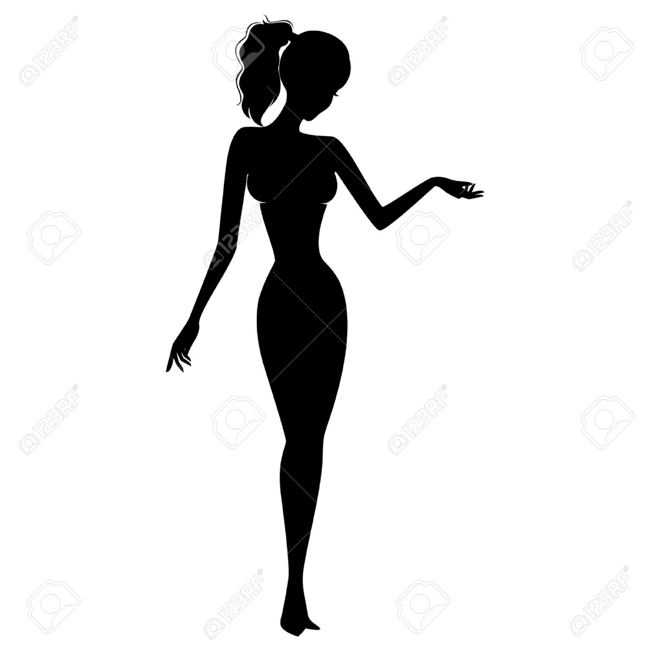 Vector Beautiful Pin Up Silhouette Royalty Free Cliparts Vectors