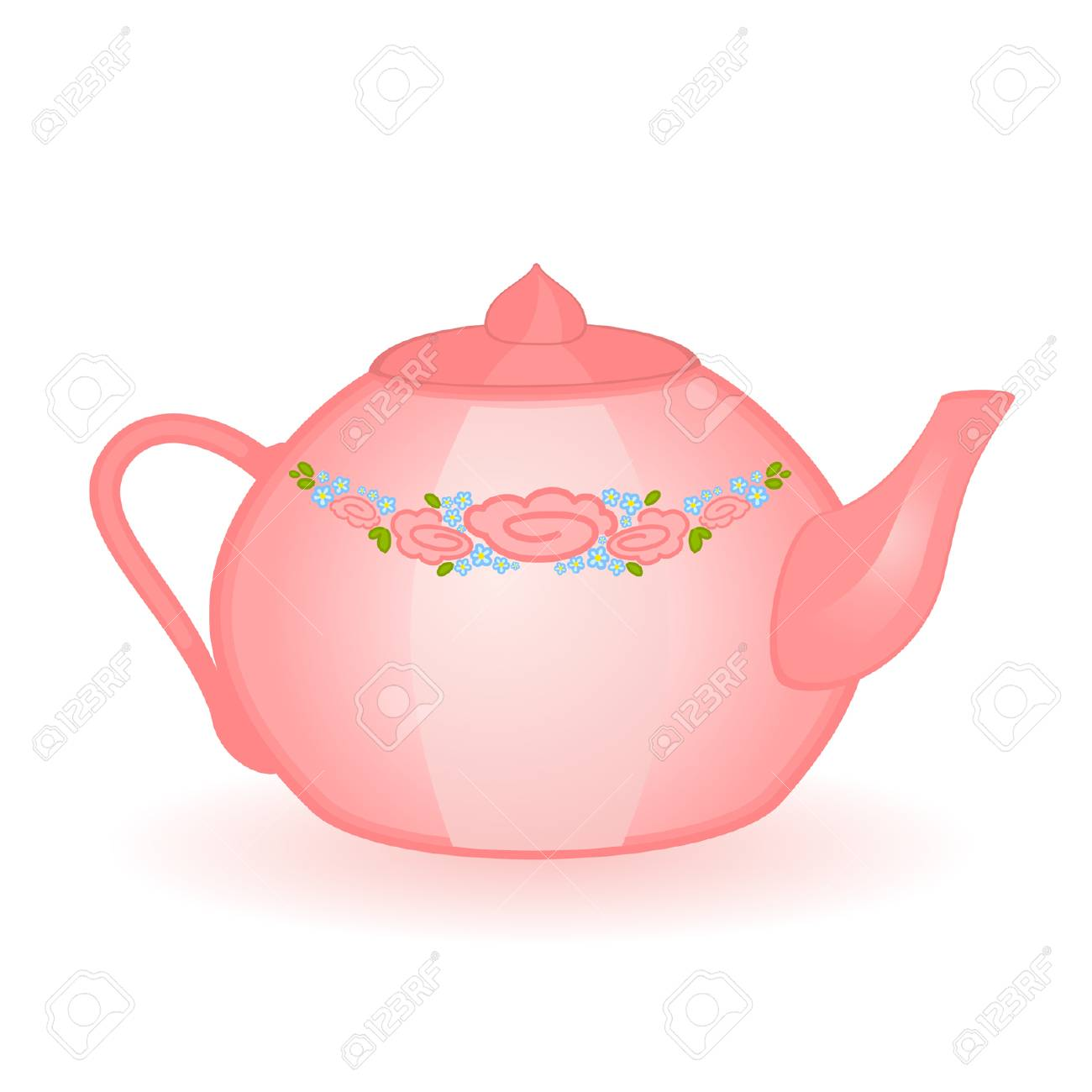 pink beautiful jug isolated on white Stock Vector - 8565731