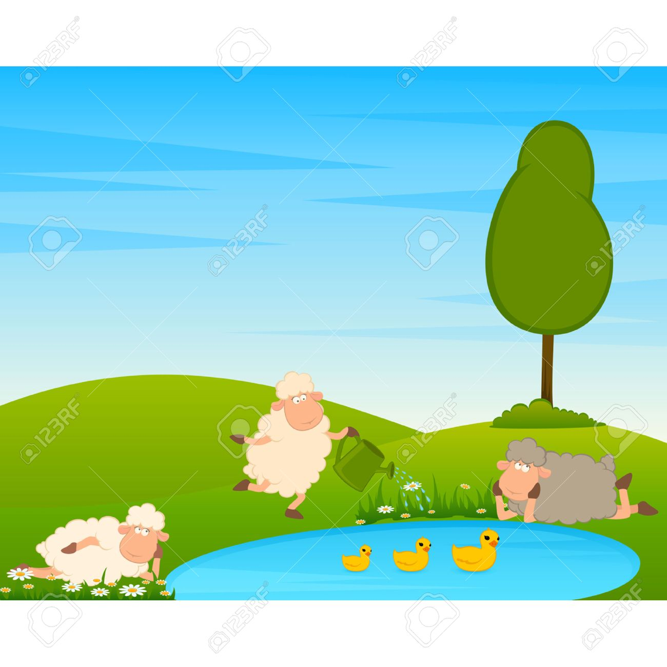 Cartoon funny sheep on country landscape with tree and lake. Stock Vector - 8565602